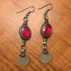 Red candy drop brutalist dangle earrings India